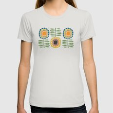 MCM Sunflowers Womens Fitted Tee Silver X-LARGE