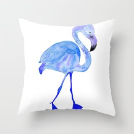 Blue Watercolor Flamingo Throw Pillow