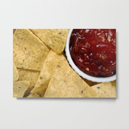 Nachos and Chilli Dip Overhead Metal Print