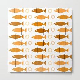 Mid Century Modern Fish Pattern Orange Metal Print