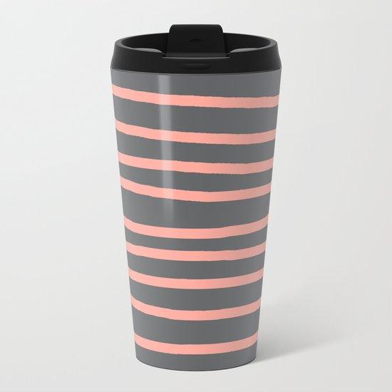 Simply Drawn Stripes Salmon Pink on Storm Gray Metal Travel Mug