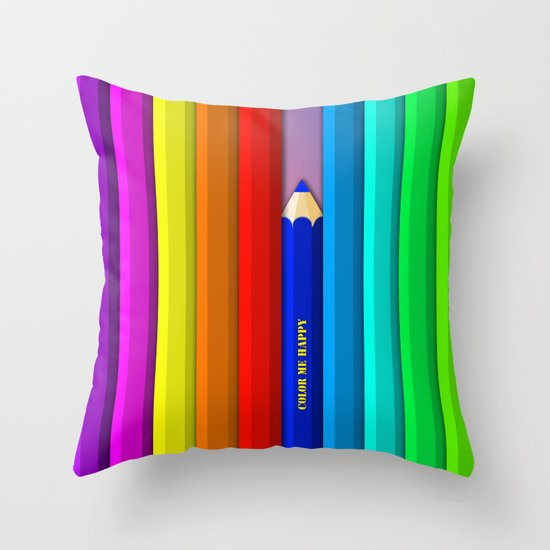 Color Me Happy :)  Throw Pillow