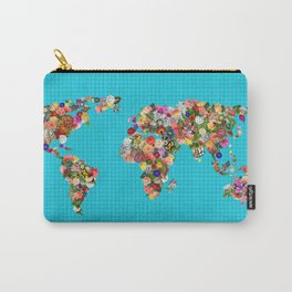 World Map Floral Carry-All Pouch