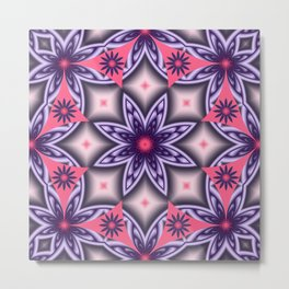 Flowers and Diamonds in purple and Pink Metal Print