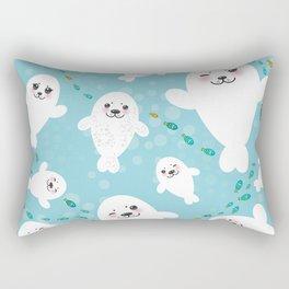 Funny albino white fur seal pups, cute kawaii seals Rectangular Pillow
