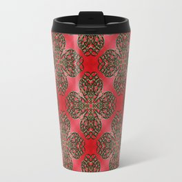 Red Green and Gold Beadwork Inspired Print Travel Mug