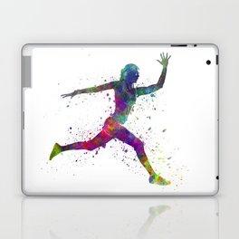 Woman runner running jumping Laptop & iPad Skin