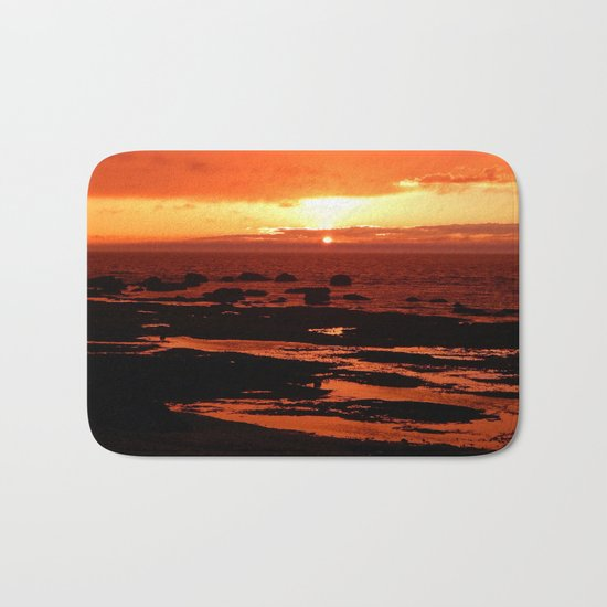 Sunset behind the Circle of Rocks Bath Mat