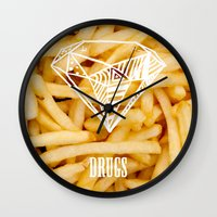 french fries Wall Clocks featuring Diamonds & French Fries by Danny Ivan