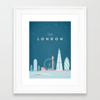 travel poster Framed Art Prints featuring Vintage London Travel Poster by Travel Poster Co.
