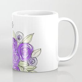 Bride Wedding Bridal Purple Violet Lavender Roses Watercolor Coffee Mug