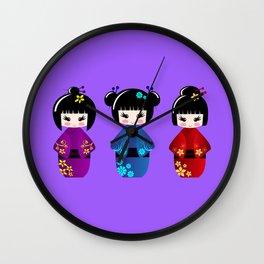 Cute kokeshi dolls cartoon Wall Clock
