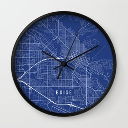 Boise Map, USA - Blue Wall Clock