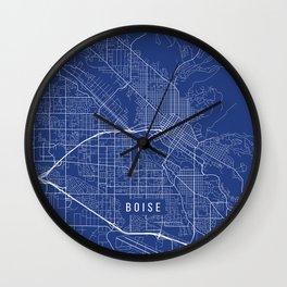 Boise Map, USA - Blue Wall Clock