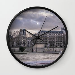 Seine wharf, Paris, France Wall Clock
