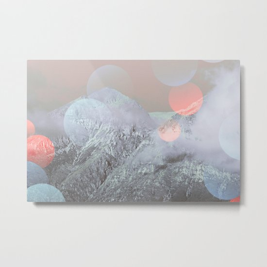 Bokeh Lights on Mountains Metal Print