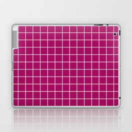 Jazzberry jam - violet color -  White Lines Grid Pattern Laptop & iPad Skin
