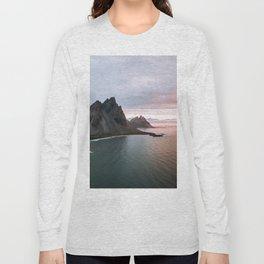 Iceland Mountain Beach Sunrise - Landscape Photography Long Sleeve T-shirt