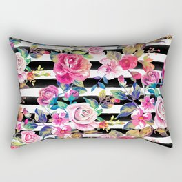 Cute spring floral and stripes watercolor pattern Rectangular Pillow