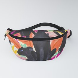 Black Panthers in Exotic Garden Fanny Pack