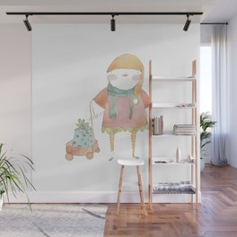 Bird Elf with a Gift Wall Mural