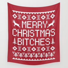 Merry Christmas Bitches Funny Xmas Quote Wall Tapestry