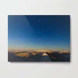 Minimal Landscape Mountains With Blue Sky And Distant Moon Metal Print