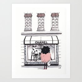 Shopping In The Rain Art Print
