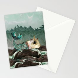 Behold the Mythical Merkitticorn - Mermaid Kitty Cat Unicorn Stationery Cards