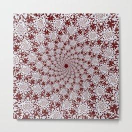 Winter Snowflake Spiral Metal Print