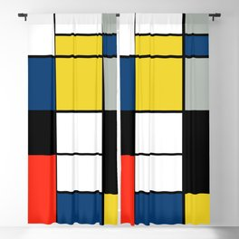 Piet Mondrian - Large Composition A with Black, Red, Gray, Yellow and Blue, 1930 Artwork Blackout Curtain