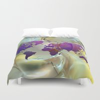 map of the world Duvet Covers featuring World Map by Roger Wedegis