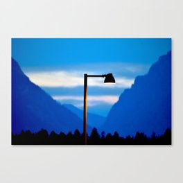 Mountains and a Lamp post Canvas Print