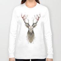 deer Long Sleeve T-shirts featuring Deer tree by Rafapasta