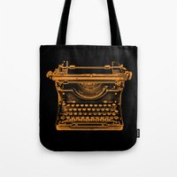 typewriter Tote Bags featuring Typewriter by Jessica Slater Design & Illustration