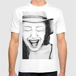 So Amused! Expressions of Happiness Series -Black and White Original Sketch Drawing, pencil/charcoal T-shirt