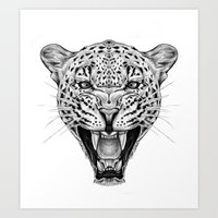 leopard Art Prints featuring Leopard by Libby Watkins Illustration