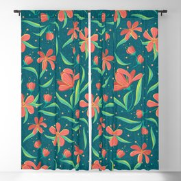 Coral Red Flowers & SpearMint Leaves on Dark Teal (pattern) Blackout Curtain