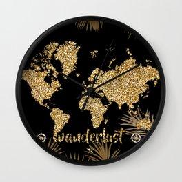 world map gold black Wall Clock