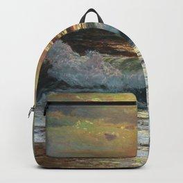 Coastal Waves Crashing during Pink Sunset - Impressionist Oil seascape maritime painting by Vartan Makhokhian Backpack