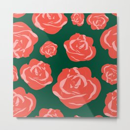 Dusty Rosy Roses and Pinks on Green Metal Print