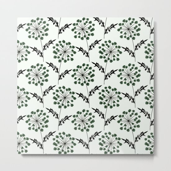 Delicate flowers on a black background. Metal Print