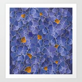 Papillons blue and orange Art Print