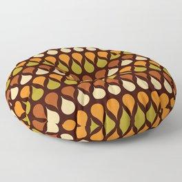 60s, retro pattern, Brown drops, yellow drops, geometric, vintage, drop pattern Floor Pillow
