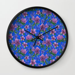 A watercolor seamless pattern of pink rhododendron flowers, branches of green leaves Wall Clock