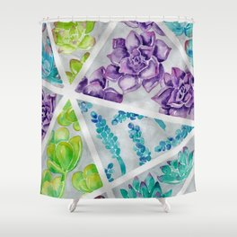 Watercolor succulent painting Shower Curtain