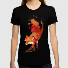 Vulpes vulpes Black MEDIUM Womens Fitted Tee