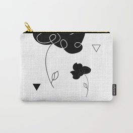 Black Flowers Carry-All Pouch