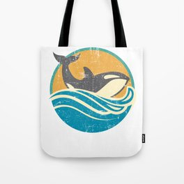 Retro Distressed Killer Whale Design for Orca Lovers Tote Bag