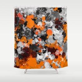 Orange and Grey Paint Splatter Shower Curtain